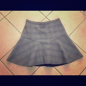 J.crew black and white plaid plaza skirt NWT